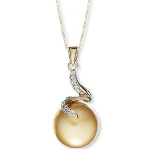 14k Gold Golden South Sea Pearl Pendant Necklace